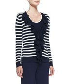 Striped Ruffle-Front Cardigan