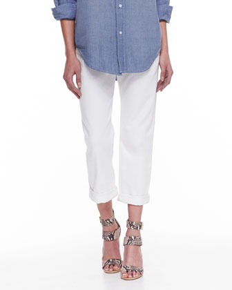 The Sleeveless Perfect Chambray Shirt & The Boyfriend Relaxed Cropped Jeans