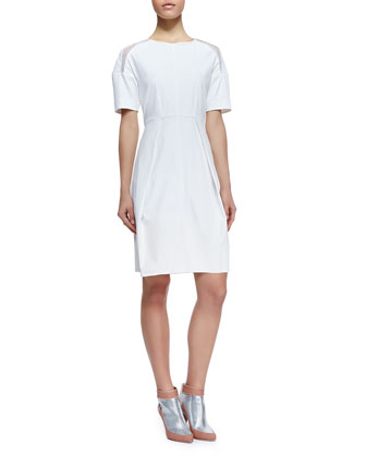 Poplin Mesh-Inset Short-Sleeve Dress, White
