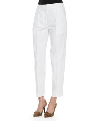 Pleated Poplin Cropped Easy Pants