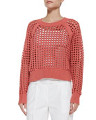 Lattice-Stitch Cropped Knit Sweater