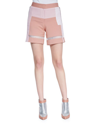Patchwork Sheer-Strip Shorts