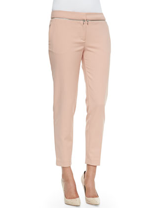 Zip-Detail Suiting Pants
