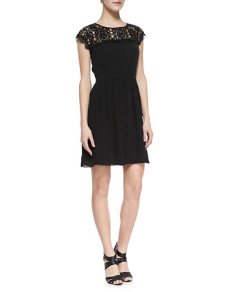 Cap-Sleeve Lace-Yoke Dress