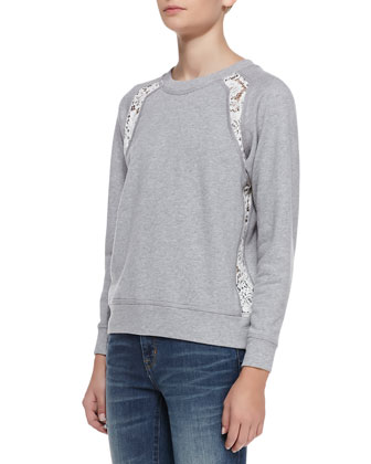 Lace-Panel Knit Sweater