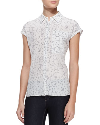Cap-Sleeve Lace-Print Top