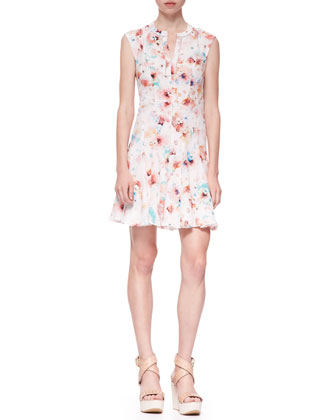 Poppy-Print Swingy Silk Godet Dress