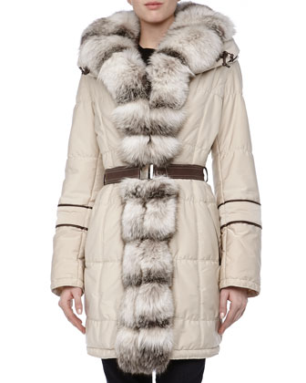 Long Belted Puffer Coat w/Fur Trim, Creme