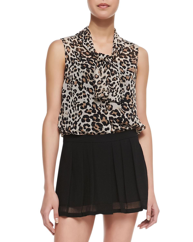 Womens Ascot Neck Leopard Print Chiffon Blouse   LAgence   Leopard (10)