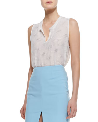 Henley Sleeveless Metallic-Dot Top