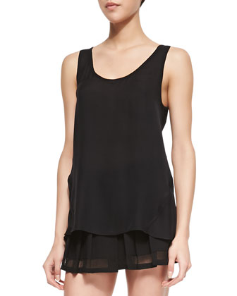 Silk Tank with Mesh Racerback