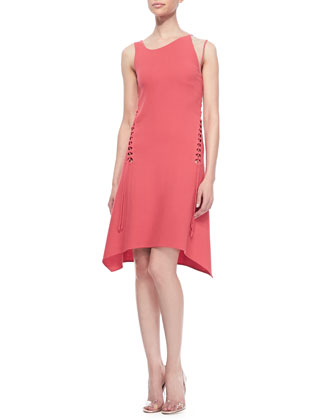 Sleeveless Lace-Up Dress, Coral