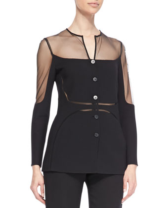Sheer Chiffon-Inset Shadow Jacket & Wool Crepe Tuxedo Pants