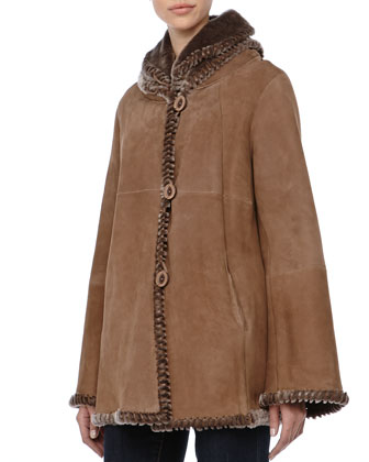 Shearling Jacket with Double Collar, Sabia