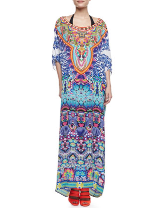 Printed Silk Caftan Coverup