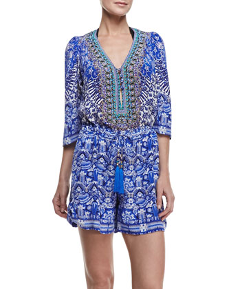 Printed Drawstring Short Jumpsuit