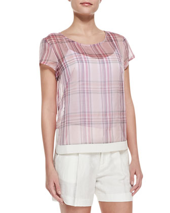 Rhea Sheer Plaid Chiffon Blouse