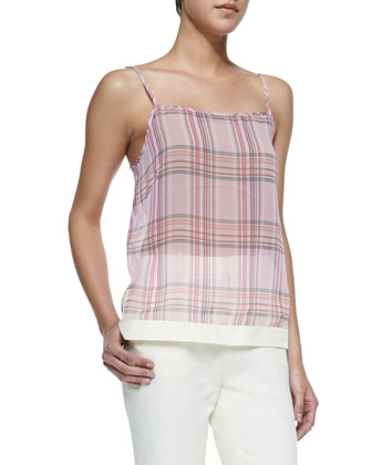 Translucent Plaid Spaghetti Strap Tank & Jennie Paper-Cloth Straight-Leg Pants