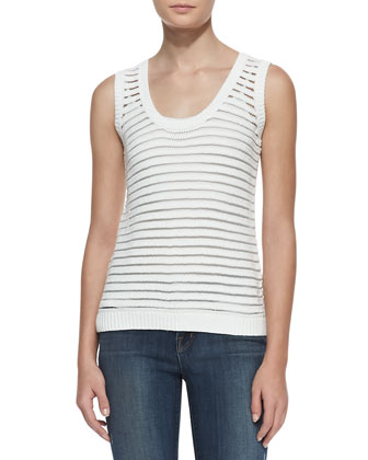 Shannon Sheer-Stripe Sweater Tank