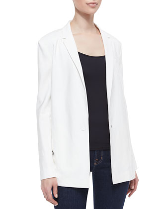 Sharman Sheer-Back Long Blazer
