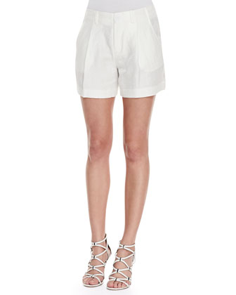 Rhea Sheer Plaid Chiffon Blouse & Underhill Pleated Shimmery Shantung Shorts