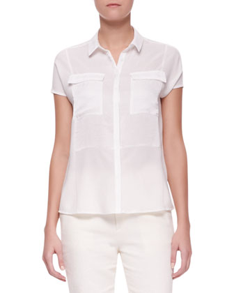 Nyberg Georgette Short-Sleeve Blouse