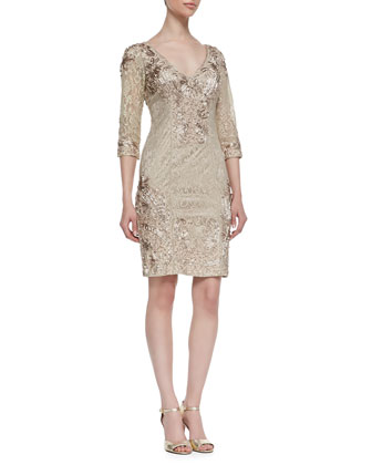 Embroidered Lace 3/4-Sleeve Dress