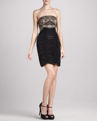 Strapless Beaded & Ruched Cocktail Dress