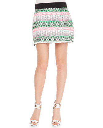 Tribal-Pattern-Striped Miniskirt