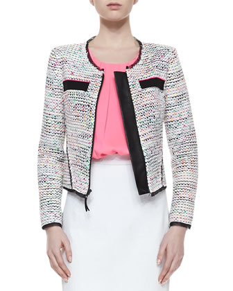 Solid-Trim Tweed Jacket, Pleated Stretch-Silk Tank & Snake-Print Leather ...