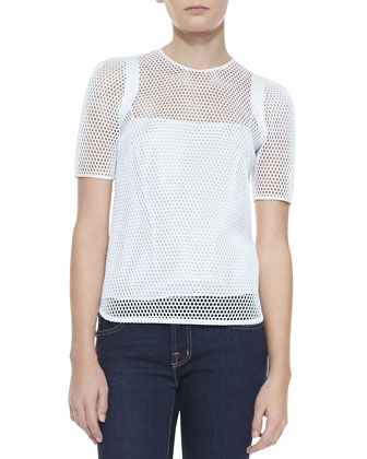 Sheer Mesh Short-Sleeve Tee