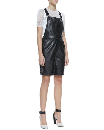 Leather Shortalls & Sheer Mesh Short-Sleeve Tee