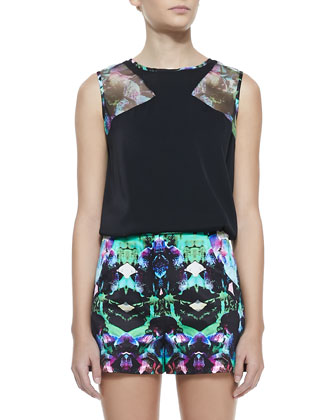 Mesh-Inset Sleeveless Silk Top & Graphic-Print True-Waist Shorts