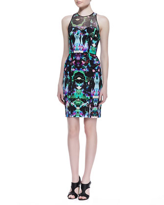 Mesh-Top Graphic Orchid Print Dress, Multicolor