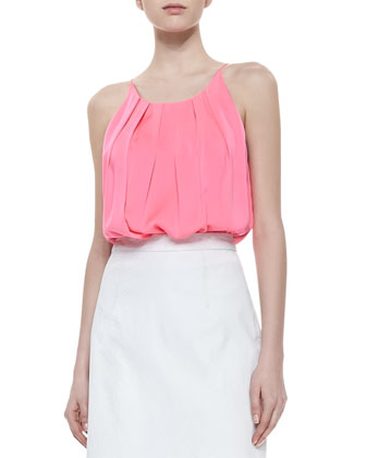 Pleated Stretch-Silk Tank