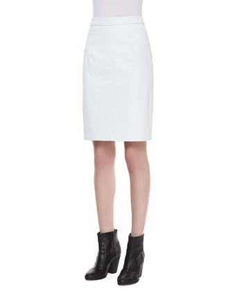 Graphic-Print Shell & Snake-Print Leather Pencil Skirt
