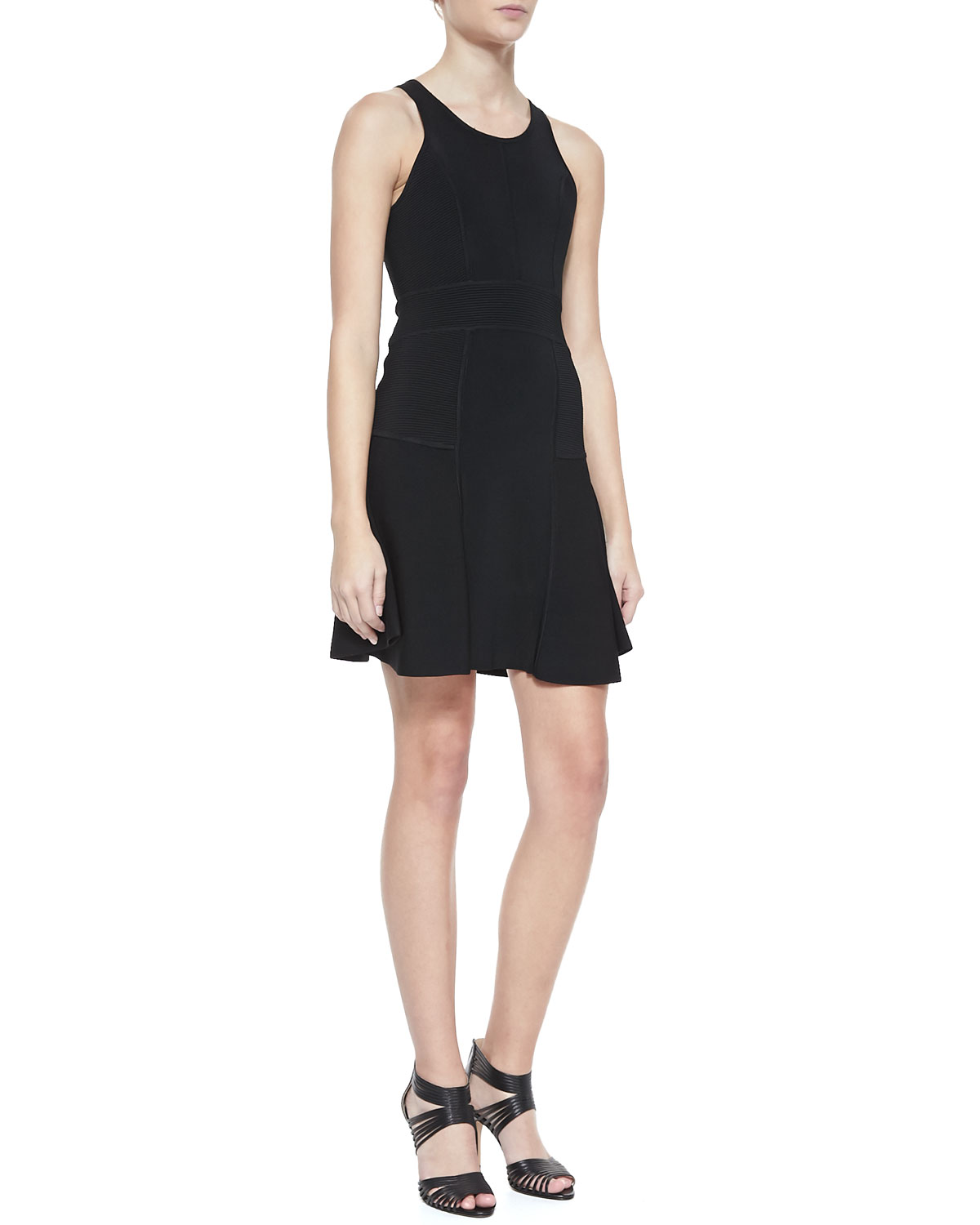 Womens Fit & Flare Sleeveless Ponte Dress   Milly   Black (MEDIUM)
