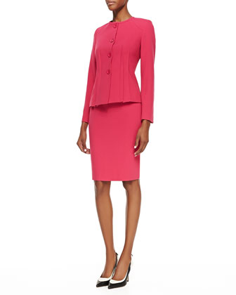 Two-Piece Knit Skirt Suit, Fuchsia