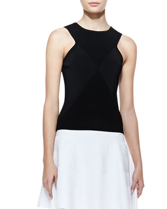 Ribbed Knit Diamond Shell, Black