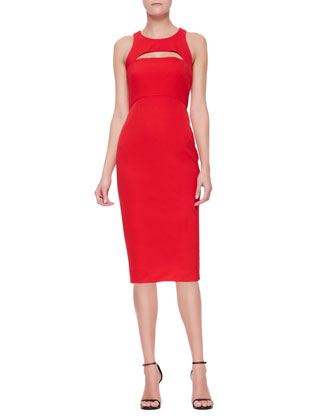 Cutout Slim Sleeveless Keyhole Sheath Dress