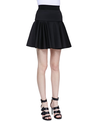 Embossed Faux-Leather-Detail Top and Valencia Dropped Flare Skirt
