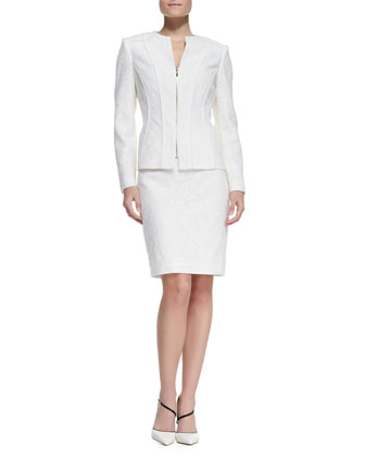 Bonded Lace Jacket & Skirt Suit, Ivory