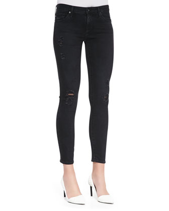 Distressed Skinny Ankle Jeans, Emerse