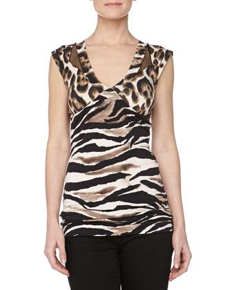 Leopard-Print V-Neck Jersey Top