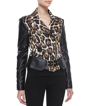 Leopard Print Jacket with Side Zipper