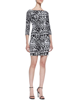 3/4-Sleeve Baroque Print Dress, Black/White