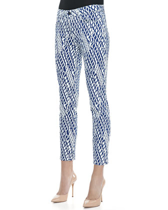 Darla High Water Geometric Print Skinny Jeans
