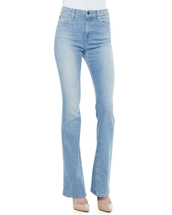 Nayeli High-Rise Flared-Leg Jeans, Light Blue