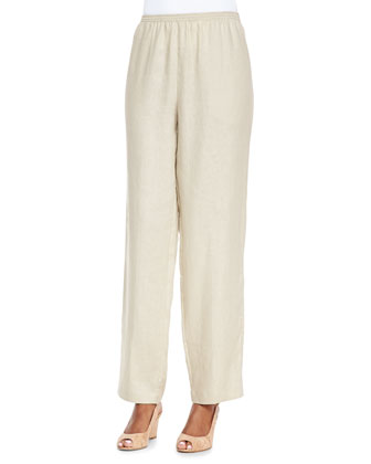 Linen Asymmetric Shirt & Unlined Straight-Leg Linen Pants, Petite