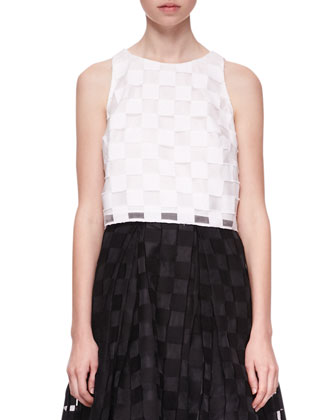 Sleeveless Sheer-Block Crop Top